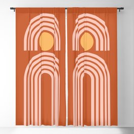 Geometric Lines in Rose Gold Terracotta (Sun and Rainbow Abstract) Blackout Curtain