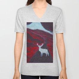 White Deer Unisex V-Neck