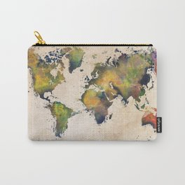 World Map green splash Carry-All Pouch