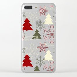 Christmas pattern with gift boxes and snowflakes. Clear iPhone Case