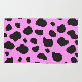 Animal Print (Cow Print), Cow Spots - Pink Black  Rug