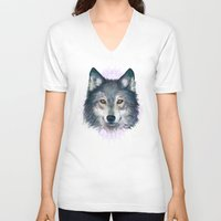wolf V-neck T-shirts featuring Wolf by Laura Graves