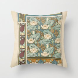 Maurice Pillard Verneuil - Plants and their Ornamental Applications (1896) - Waterlily 2 Throw Pillow