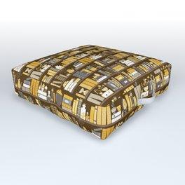 Book Case Pattern - Yellow Grey Outdoor Floor Cushion