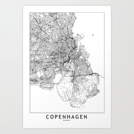 Copenhagen White Map Art Print