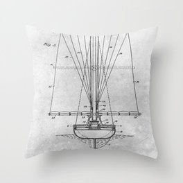 1899 Sail boat Throw Pillow