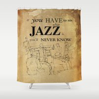louis armstrong Shower Curtains featuring Louis Armstrong Quote by Larsson Stevensem