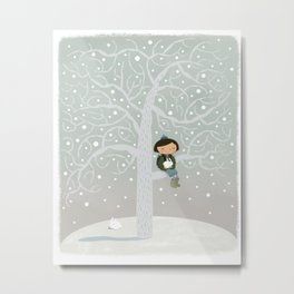 Winter Tree Girl  Metal Print