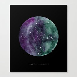 Trust the Universe Black Canvas Print