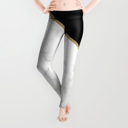 Elegant Black and Faux Gold Abstract Design Leggings