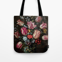 """Andries Daniels and Frans Francken the Younger """"Vase with Tulips"""" Tote Bag"""