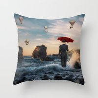 magritte Throw Pillows featuring A la Magritte by Susann Mielke