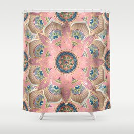 Trendy Metallic Gold and Pink Mandala Design Shower Curtain