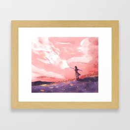 The Girl and the Clouds Framed Art Print