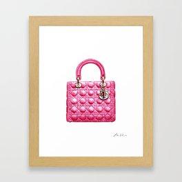 Lady Handbag in Pink Leather Framed Art Print