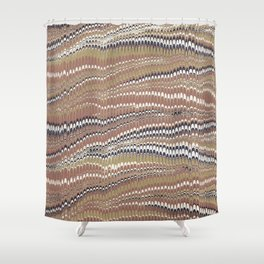 Electrified Ripples Tan Shower Curtain