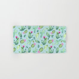 Green Cactus with Pink Bloom | Watercolor Cacti on Cyan Background Hand & Bath Towel