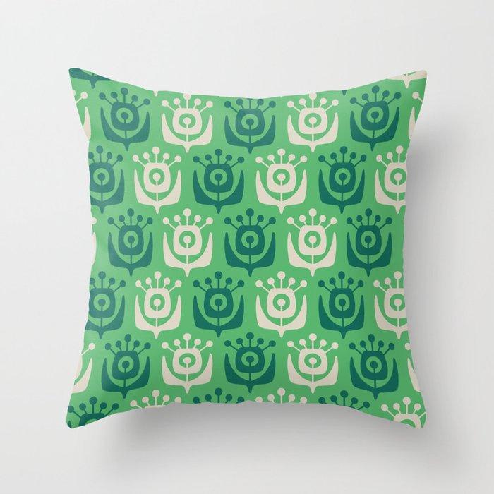 Mid Century Modern Retro Flower Pattern Green 931 Throw Pillow