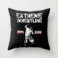 wrestling Throw Pillows featuring Extreme Wrestling by Darth Paul