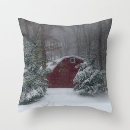 Red Barn in a Snow Storm Throw Pillow