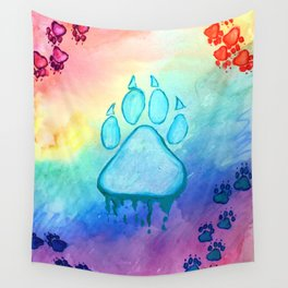 Painted Paw Prints on the Heart Wall Tapestry