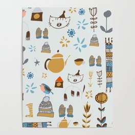 hygge cat and bird gray Poster