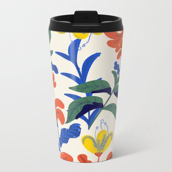 Vintage Floral Pattern Metal Travel Mug