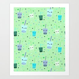 Happy Boba Bubble Tea Green Art Print