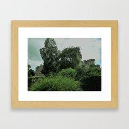 Warwick Castle Bathed in Green Light Framed Art Print
