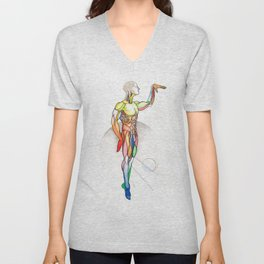The Male, nude muscle anatomy, NYC artist Unisex V-Neck