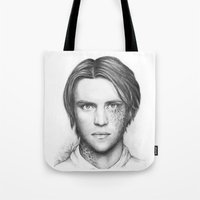 house md Tote Bags featuring Dr. Chase-House MD-Jesse Spencer-Portrait by Olechka