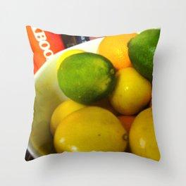 Lemon Lime Still Life Throw Pillow
