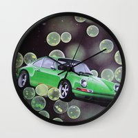 john green Wall Clocks featuring Green by John Turck