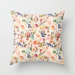 Hand painted ivory pink brown watercolor country floral Throw Pillow