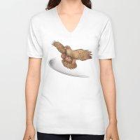 hawk V-neck T-shirts featuring Hawk by Terry Fan