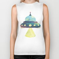 spaceship Biker Tanks featuring Spaceship. by Dani Does Art