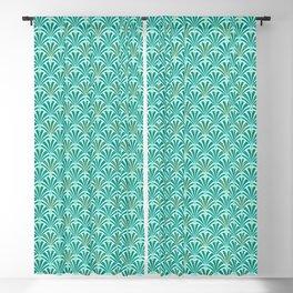 Art Deco Fan Pattern Turquoise on Aqua Blackout Curtain