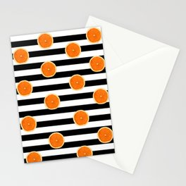 Juicy Orange Slices Black Stripes Chic Stationery Cards