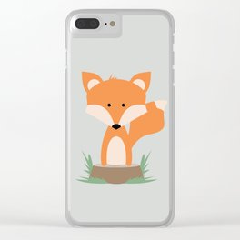 Fox on Stump Clear iPhone Case