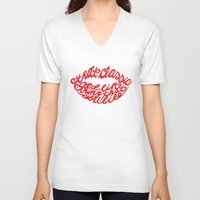 lip V-neck T-shirts featuring Red lip by saralucasi