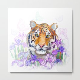 Tiger and flowers iris Metal Print