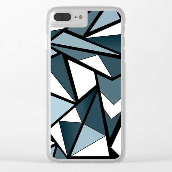 Geometric pattern in grey and white tones . Clear iPhone Case