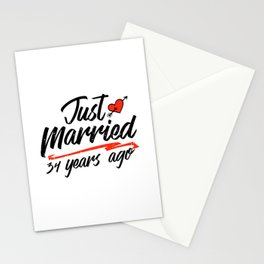 Just Married 34 Year Ago Funny Wedding Anniversary Gift for Couples. Novelty way to celebrate a Stationery Cards