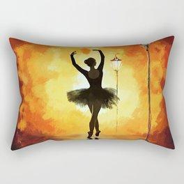 Dancing Silhouette - Yellow Rectangular Pillow