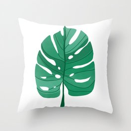 Monstera Leaf Tropical Illustration Throw Pillow