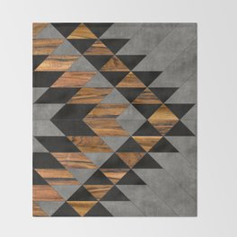 Urban Tribal Pattern 10 - Aztec - Concrete and Wood Throw Blanket