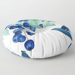 blueberry and humming bird Floor Pillow