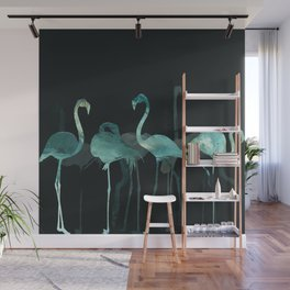 Cold Flamingos in the Night Wall Mural