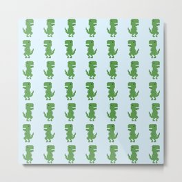 Pixel Tyrannosaurus rex Pattern Metal Print
