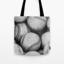 Baseballs Black & White Graphic Illustration Design Tote Bag